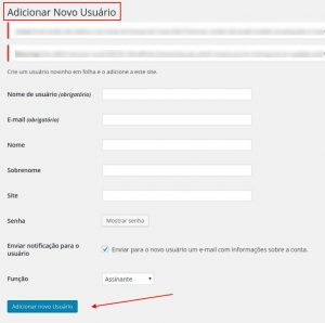Adicionar Novo Usuário WordPress